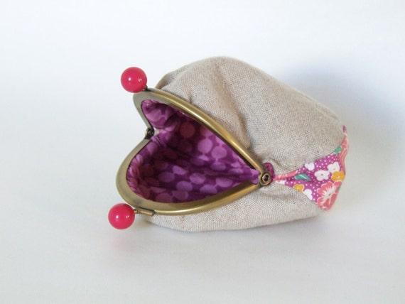 pink vintage floral bauble - frame purse