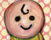 Fisher Price Baby on Pink. Original Painting.