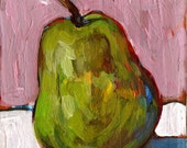 Pear. Original Painting. Recycled Wood Block.