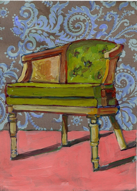 Green Chair. Original Painting on Wood.