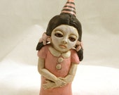 Spooky Sad Little Pink Girl Polymer Clay Sculpture Art Doll