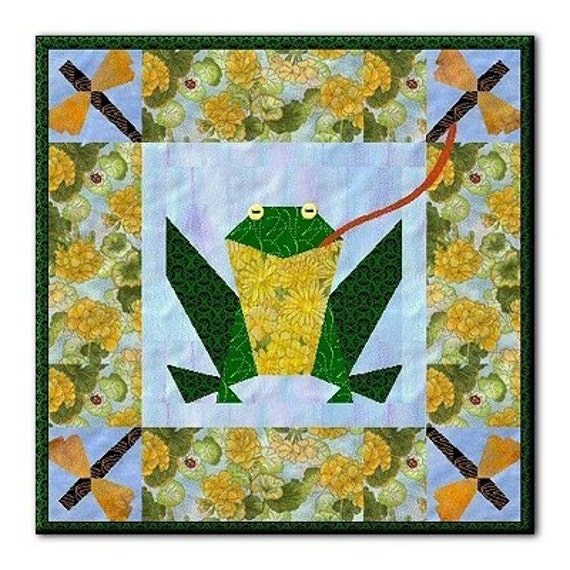 Frog Quilt: Frog Picnic Applique Wallhanging Quilt Pattern By Gottahave
