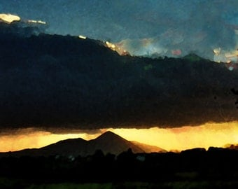 Sunset Croagh Patrick, Co Mayo, Ireland - digital print