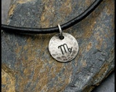 Virgo - Hammered Sterling Zodiac Pendant on Black Leather Necklace