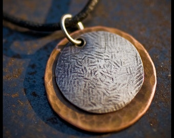 Sarra - sterling silver and copper hand-hammered pendant necklace
