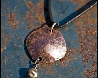 Cicely - sterling silver and copper hand-hammered pendant necklace
