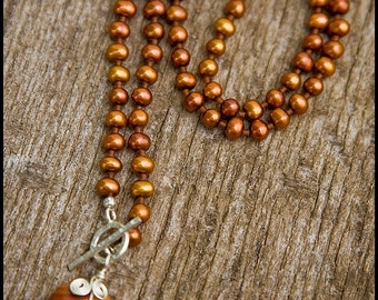 To Burn Away - sterling, rust freshwater pearl and landscape jasper necklace