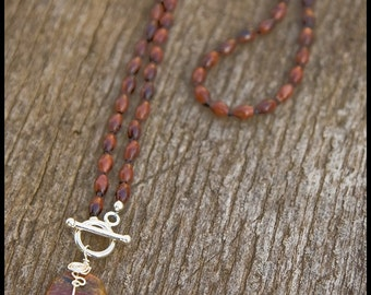 Am I the Happy Loss - sterling, red tiger eye and landscape jasper necklace