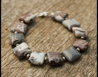 Using Ideas As My Map - sterling, thai silver and crazy horse jasper bracelet