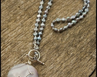 Remember That I'll Always Be In Love With You - sterling, freshwater pearl, Bali silver and imperial jasper necklace