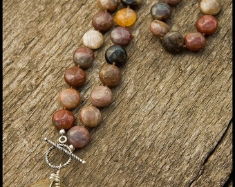 Do Me Right, Sing My Song - sterling, rainbow jasper, Bali silver and science jasper necklace