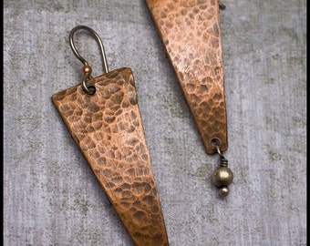 Zora - recycled sterling silver and copper hand-hammered trapezoid earrings
