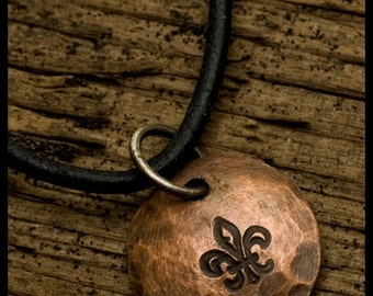 Fleur de Lis Pendant Necklace  - Recycled copper hammered oxidized disc pendants