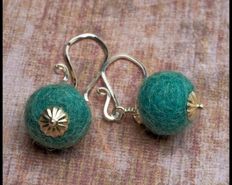 SALE - Amelia - recycled sterling silver and felted wool ball earrings - MANY COLORS