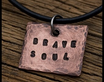 Brave Soul - sterling silver and copper hand-hammered pendant necklace