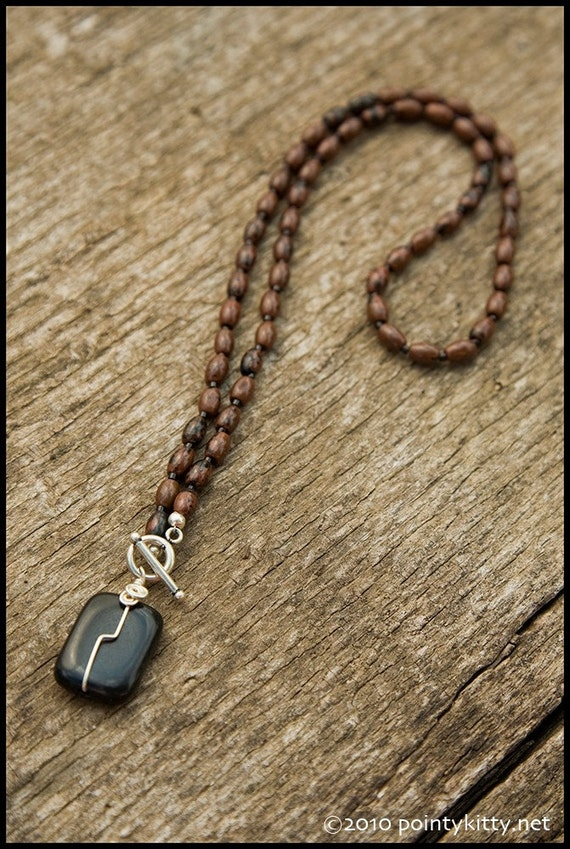 That's The Way the World Goes 'Round - sterling, mahogany obsidian and black onyx necklace
