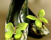 Olive Green Butterfly Shoe Clips
