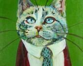 Mister Mustafa original Business Cat Painting
