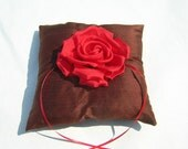 Red Rose Ring Bearer Pillow In Chocolate Brown