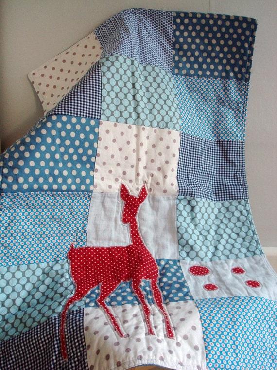 Stroller Quilt and Bib set - blue deer