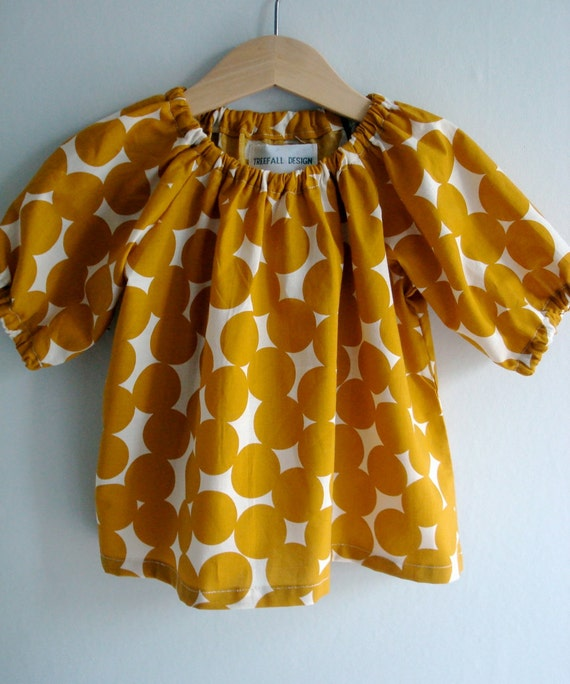 Yellow Circles  Baby Blouse 6-12 mths, 1-2 yrs, 2-3yrs, 3-4yrs, 4-5yrs