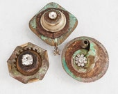 3 Rust and Rhinestone Magnets - recycled jewelry and junk
