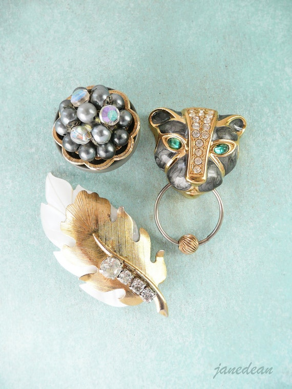 3 Glam Jaguar Magnets - recycled jewelry and buttons