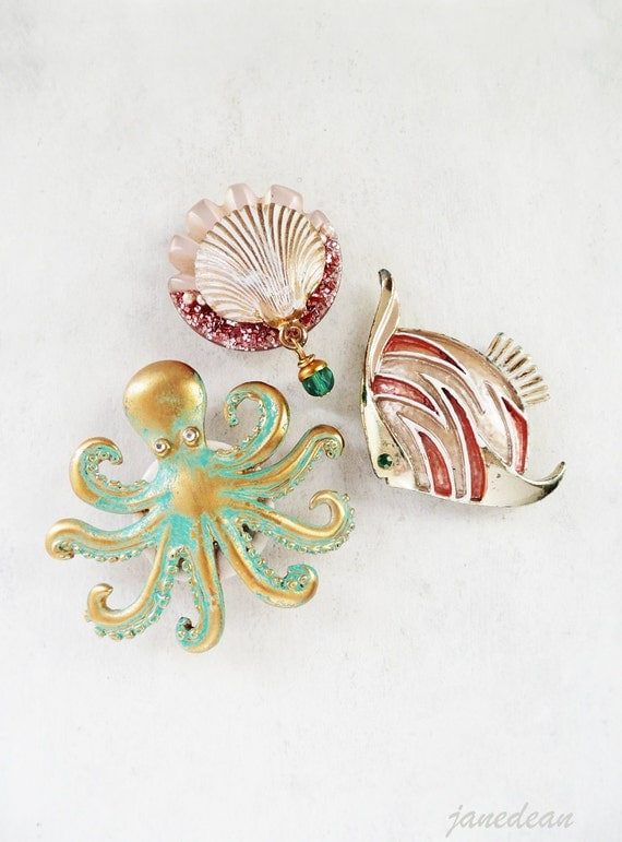 3 Sea Life Magnets - recycled vintage jewelry parts