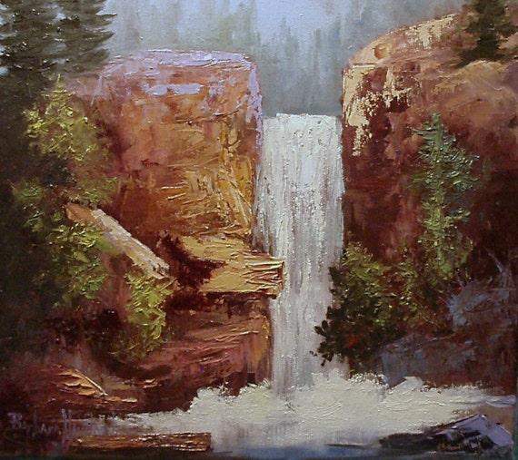Waterfall landscape oils Barbara Haviland EBSQ  canvas