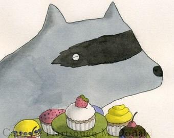 Raccoon Presenting Cupcakes