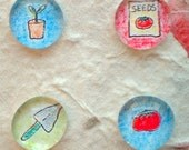 Gardening theme Glass Fridge Magnets