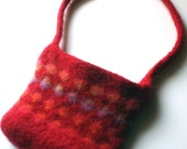 Red Dots Felted Purse