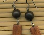 SALE Wooden Earrings with Tiger Ebony