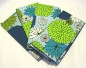 Funky Vintage Retro Blue and Green Floral Napkins THERE ARE NOW 8 in this set