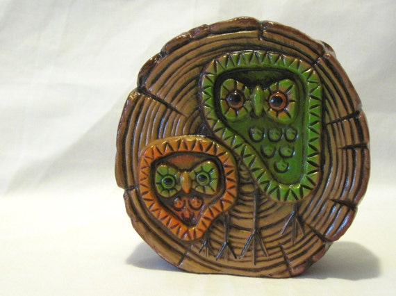 Vintage Owl in Log Retro Pressed Paper Coin Bank