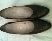 Vintage Chanel Pumps, Size 8, Chocolate Brown