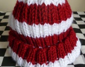 Knit baby hat - Wine and White Stripes 2 years and older size