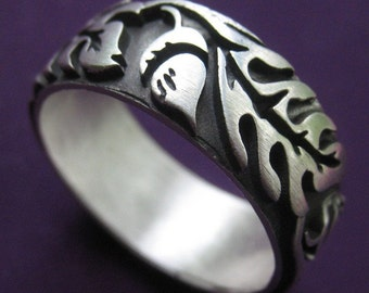 Extra Wide Silver Oak Ring
