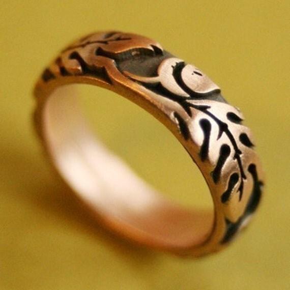 Wide Pink Silver Oak Ring