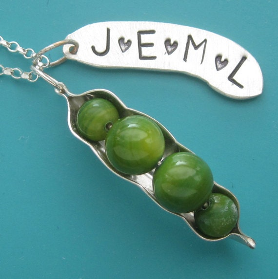 Customizable Peapod Necklace with 4, 5 or 6 Peas