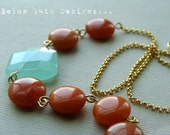 Neha- Burnt Orange Lentils and Chalcedony Necklace