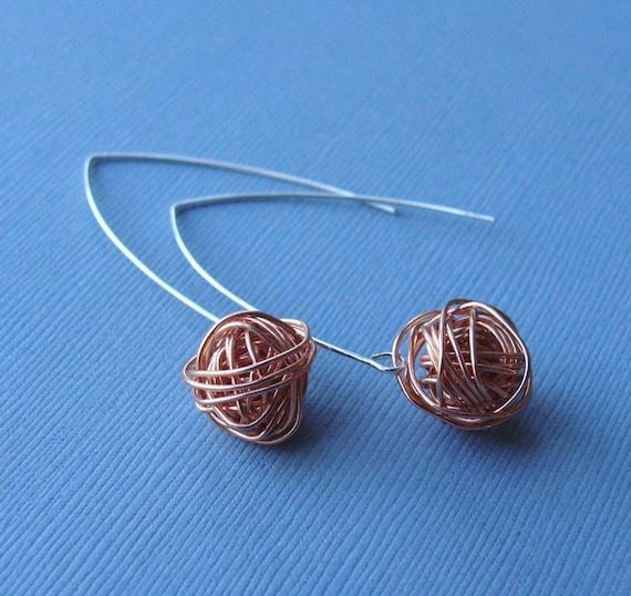 Copper Wire Bundle : Organized chaos copper wire bundle earrings