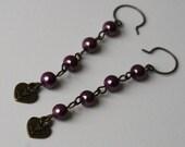 Sweetheart faux purple pearl and antiqued brass heart charm earrings
