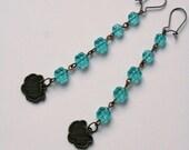 sale Abundance long blue glass flower earrings