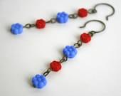 Sadie long blue and red flower earrings sale