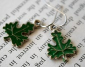 Green Leaves little enameled leaf earrings