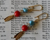 Dutch red turquoise and gold earrings