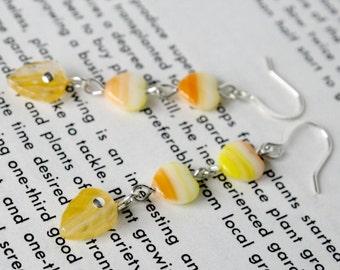 Citrus   yellow and orange glass bead earrings
