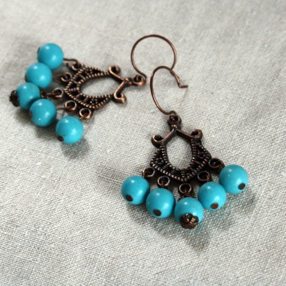 sale Lulu turquoise glass bead and copper earrings