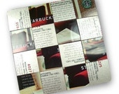 4 Upcycled Starbucks Card Mosaic Coasters, The Man Set